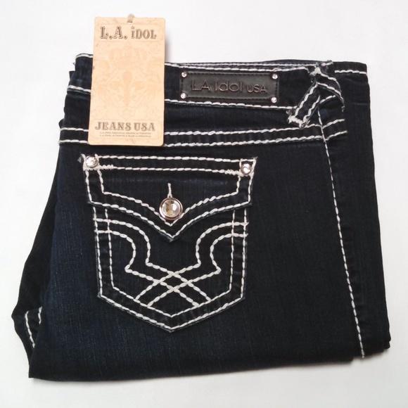 L.A. idol Denim - LA Idol Jeans Flap Pocket Bling Stitched Dark Blue